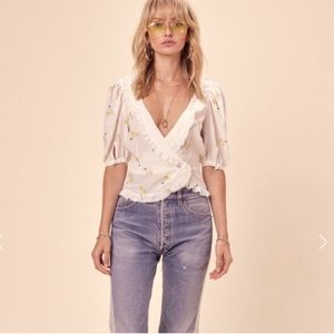 For love and lemons ashland wrap cherry top xs